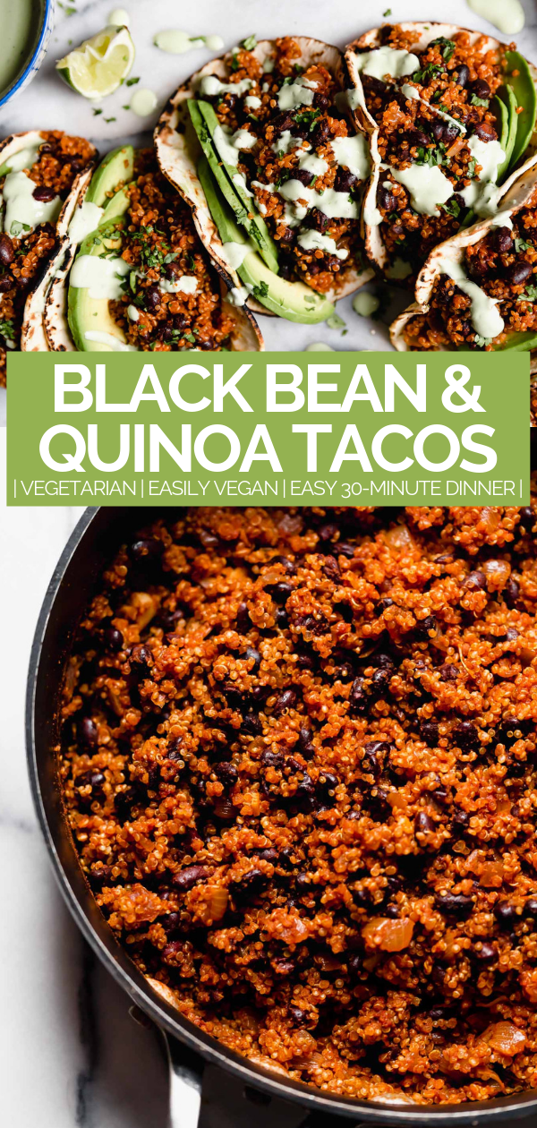 Quinoa Black Bean Tacos Cilantro Lime Crema Plays Well With Butter Recipe Tasty Vegetarian Recipes Vegetarian Quinoa Vegetarian Dishes