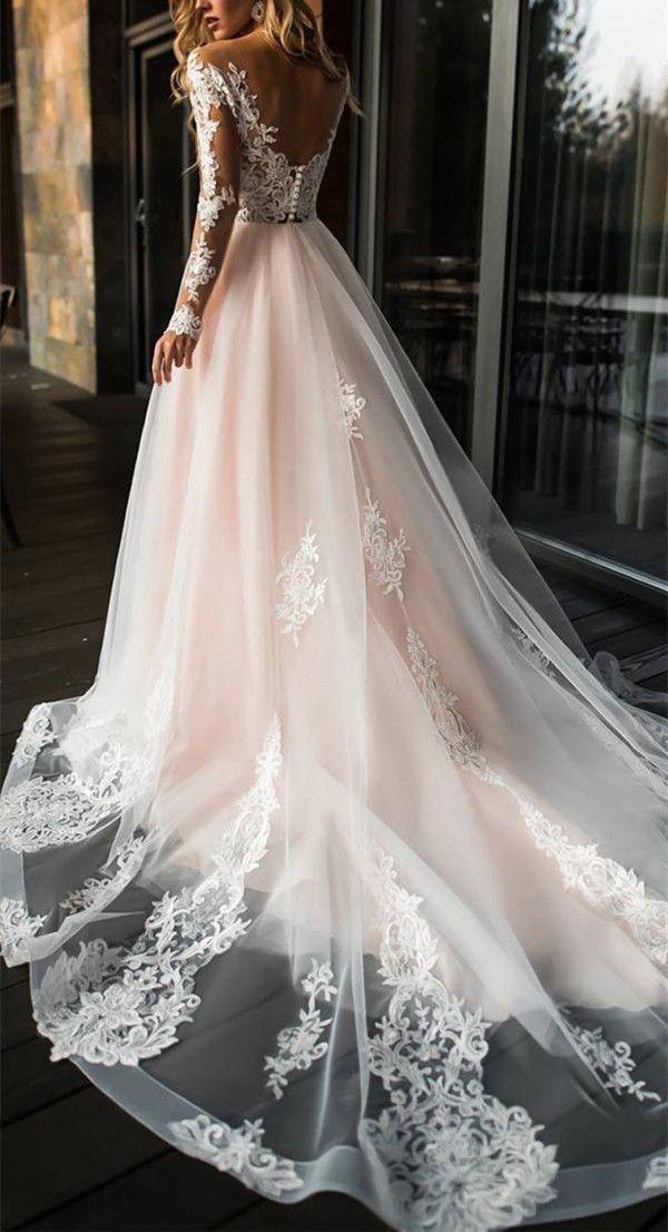 Photo of 2018 Elegante schulterfreie Spitze Brautkleid, langärmlige Applikationen Brautkleid …