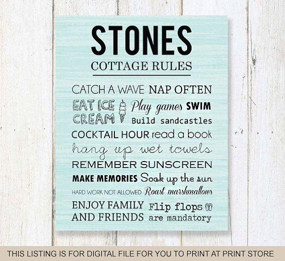 Family Rules sign - Scripture Custom Cottage Rules sign - DIGITAL file!