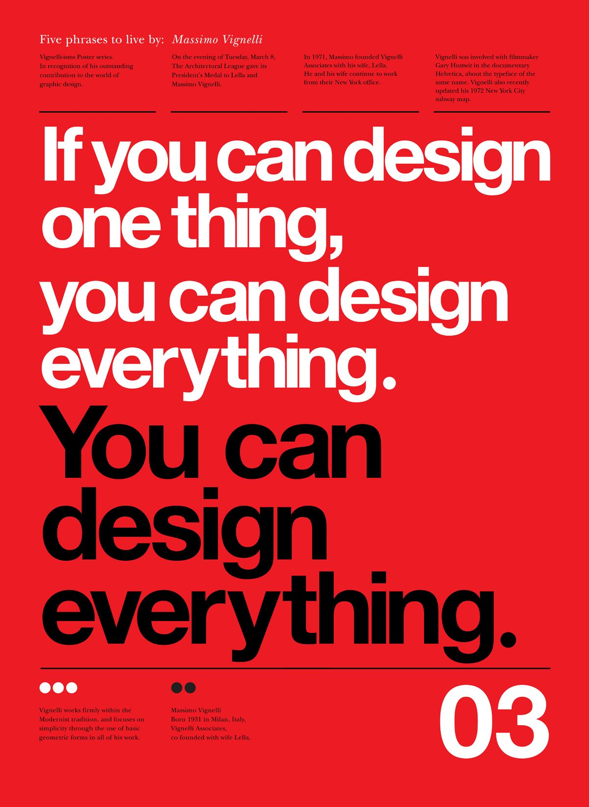 Notebook / Five Phrases to Live By: Massimo Vignelli