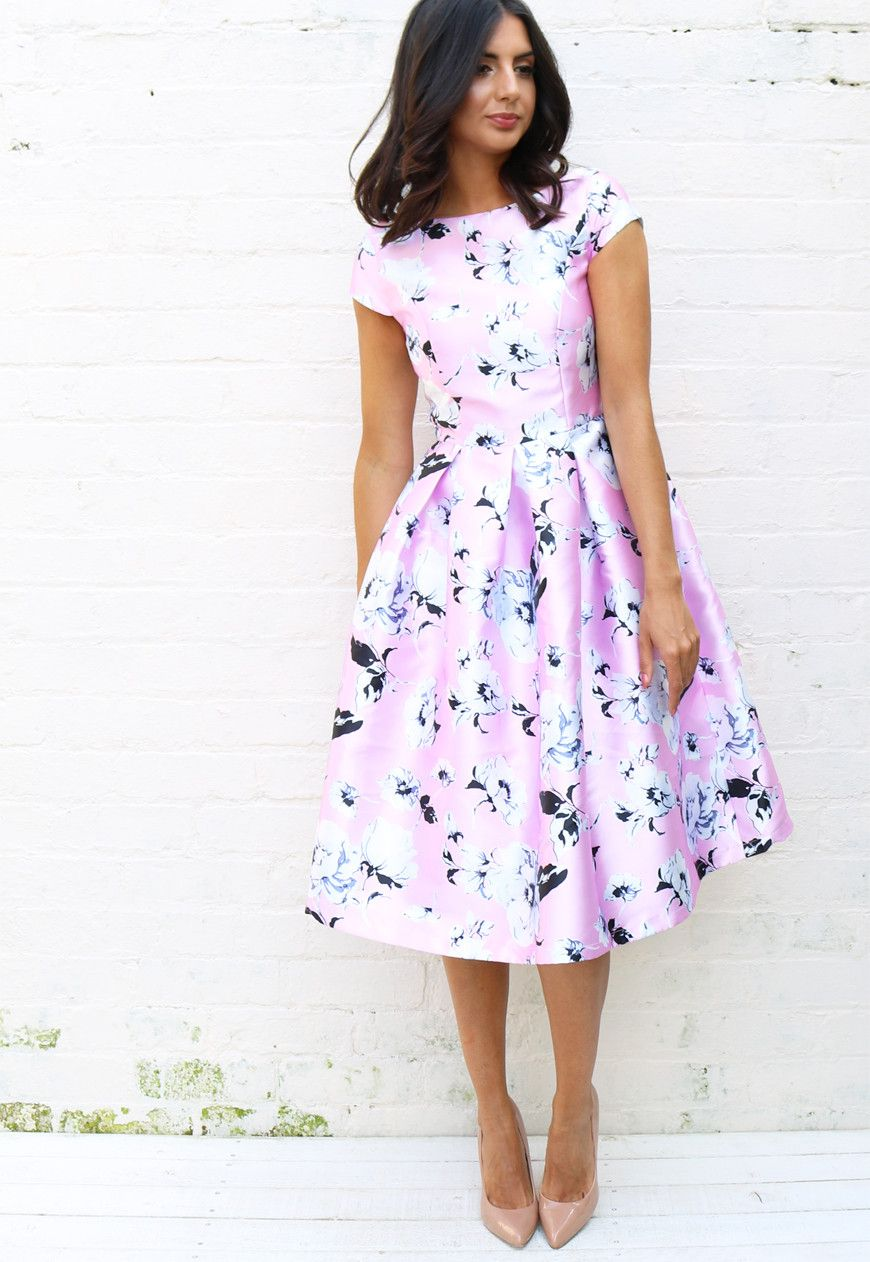 Satin Structured Box Pleat Full Skirt Midi Dress With Floral Print In Pink White Black One Nation Clothing One Nation Clot Dresses Gowns Dresses Fashion [ 1262 x 870 Pixel ]