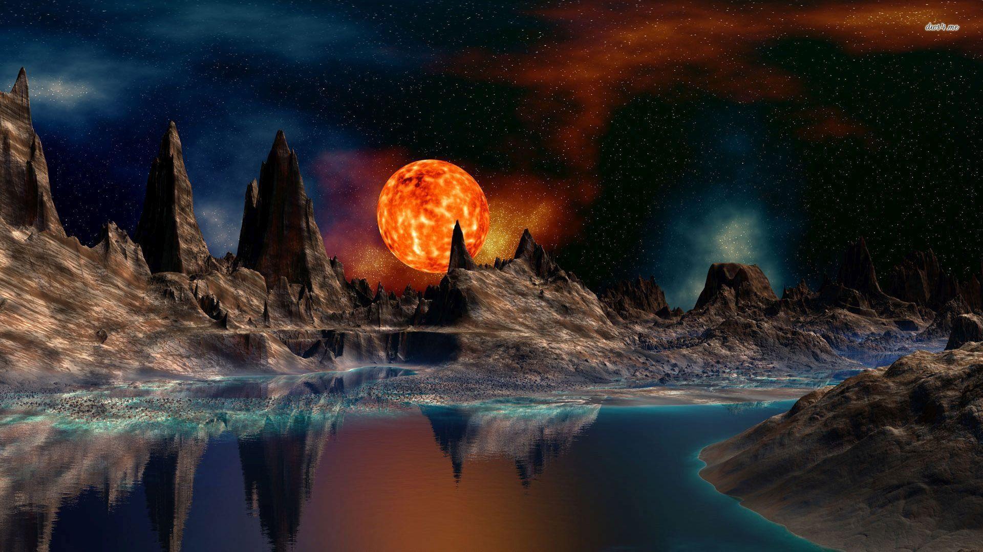 خلفيات سطح المكتب Hd ويندوز 10 Tecnologis Moon Artwork Fantasy Background Images