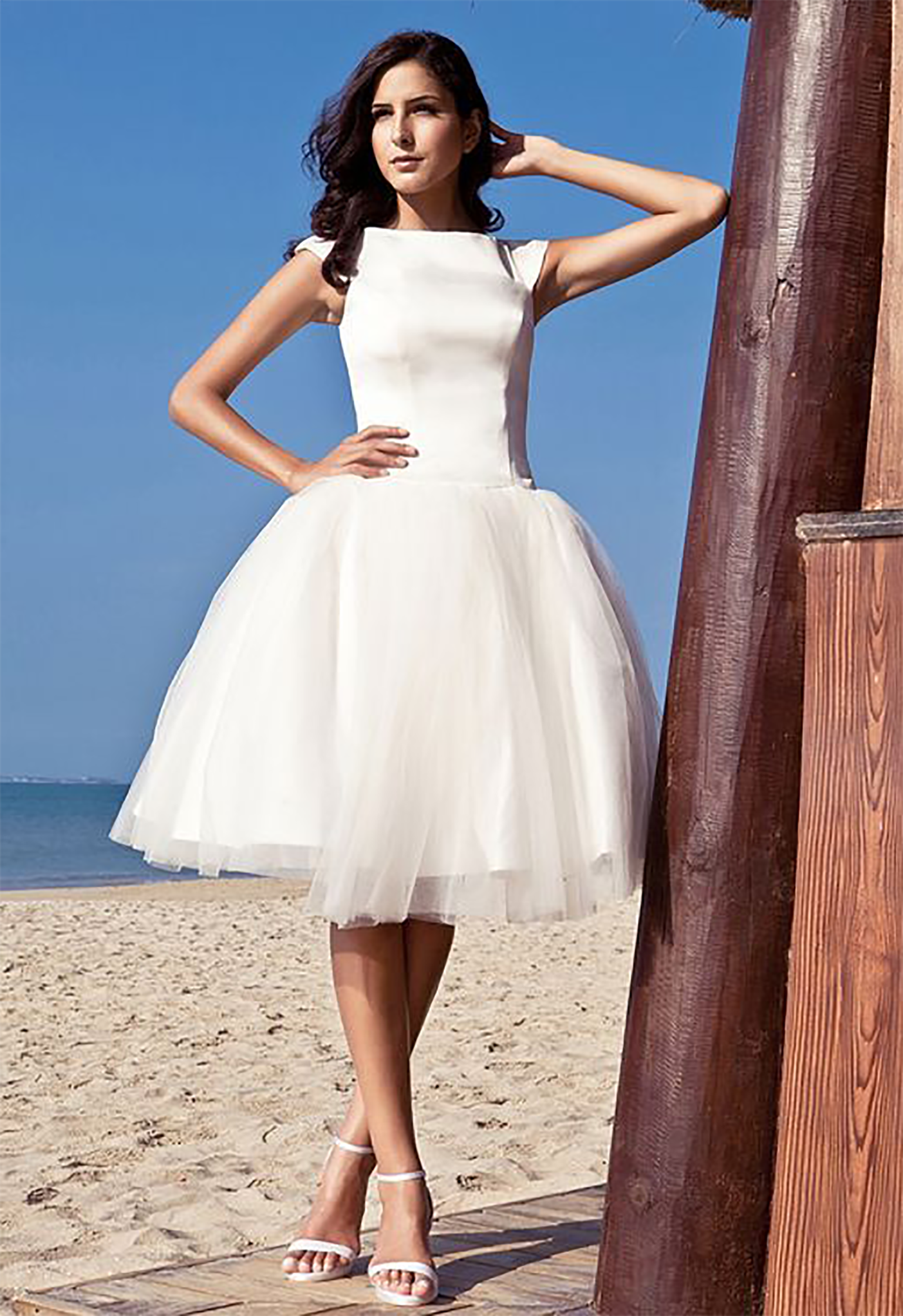 Ball Gown Bateau Knee-length Satin Tulle Wedding Dress inspired by ...