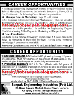Manager Sales Marketing Industrial Engg Production Engg Jobs