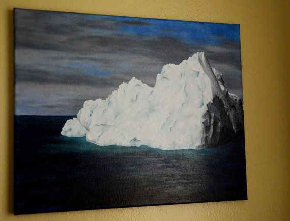 Global Warming Iceberg Glacier Melting Beauty 16x20 Original Oil