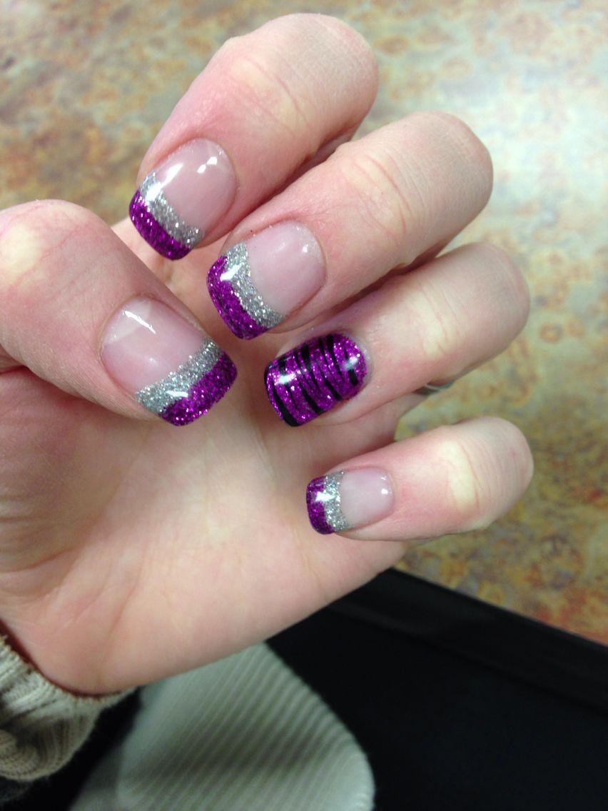 Pink and silver nails -  Sparkly Pink Silver Nails Nailart