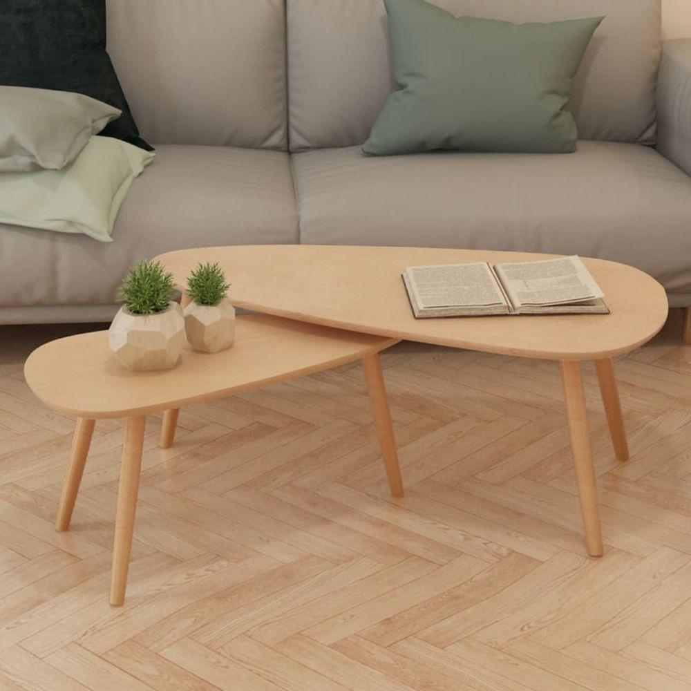 Set of 2 Coffee Tables Modern Scandinavian Design Retro