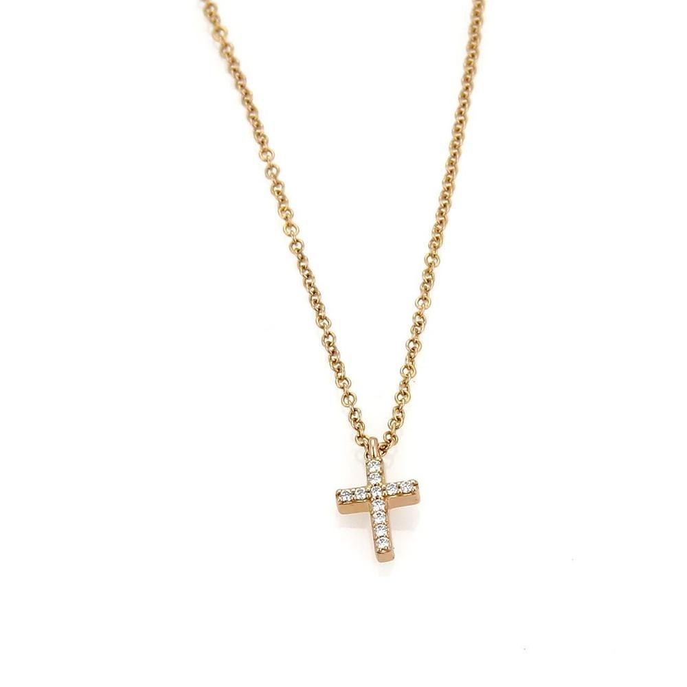 2ec9a8ecf Tiffany & Co. Metro Diamond Mini Cross Pendant in 18k Rose Gold. This  elegant authentic pendant and chain necklace is by Tiffany & Co., from the  METRO ...