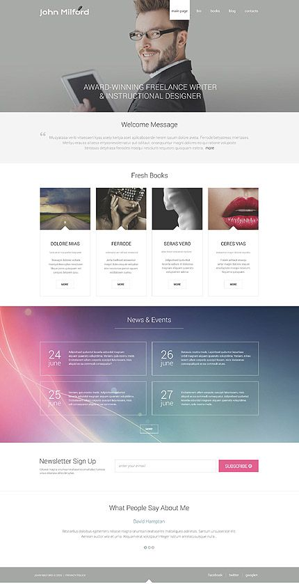 John Milford Personal Portfolio WordPress Template Themes - Information website template