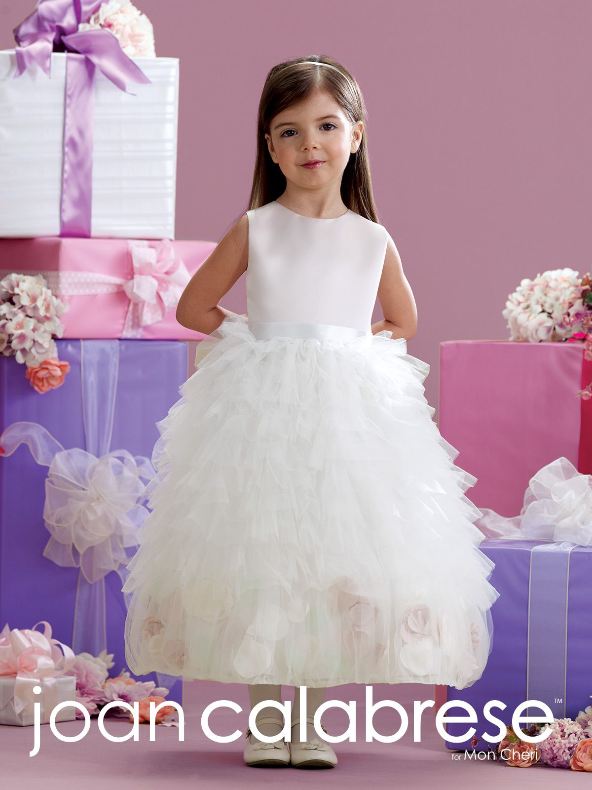 a5909f761 ... A-line dress, jewel neckline, satin bodice, removable double faced  satin ribbon ties in back, multi-tiered ruffled tulle skirt with incased  large petals ...