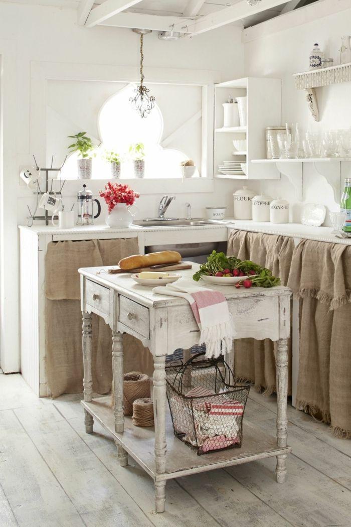 cocinas rusticas modernas, cocina en blanco con isla vintage ...