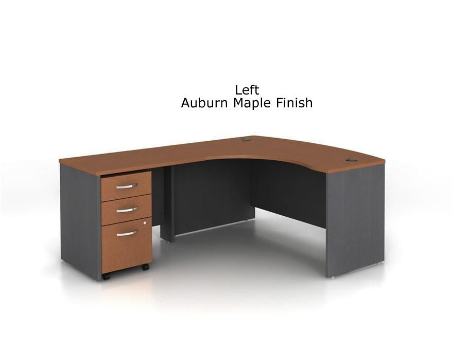 Bush Series C L Shaped Bow Desk Bundle W/ Three Drawer Pedestal File