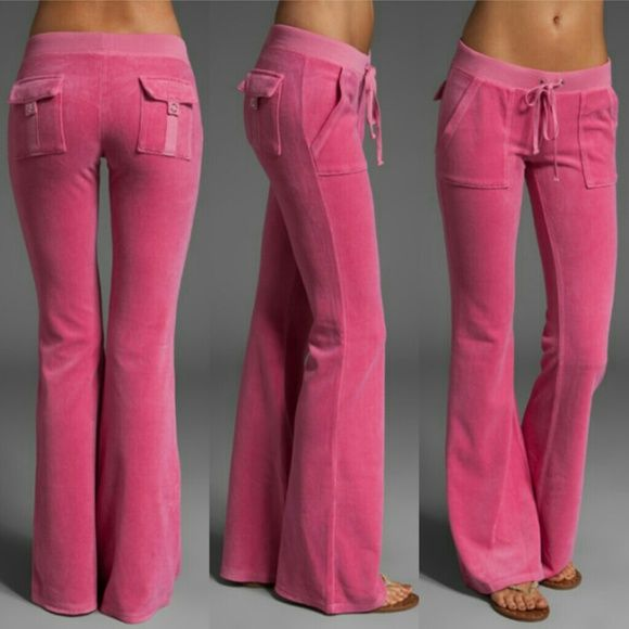 76022a93b2a4dd Pink Juicy Couture Velour Track Suite In like new condition. Worn twice.  Low rise pants with the drawstring waistband and snap pockets on the back  as well ...