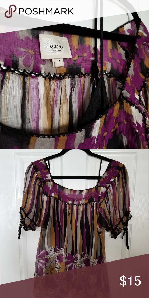 Eci New York Sheer Blouse With Purple Black And White Flowers Hand Sched Includes Slip Tops Blouses