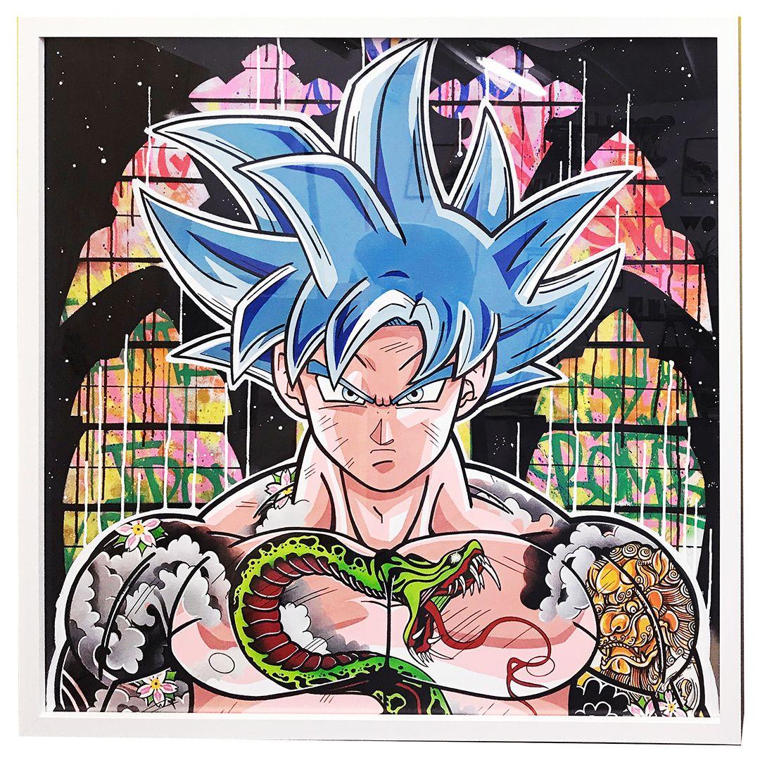 San Goku Graffiti on Canvas by Harow