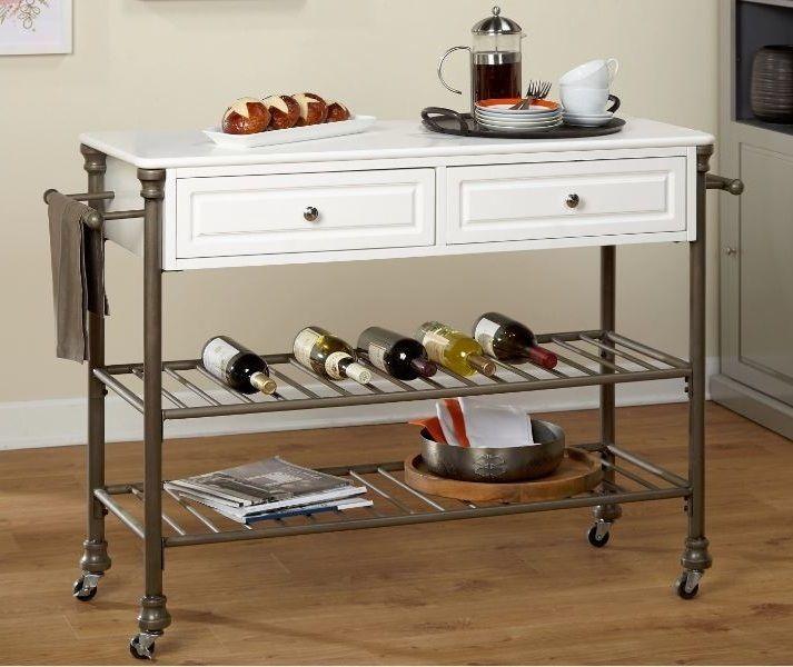 Rolling Kitchen Island Storage Shelves Drawer Utility Wood Metal Wine Cart White Simpleliving Vintagemodern