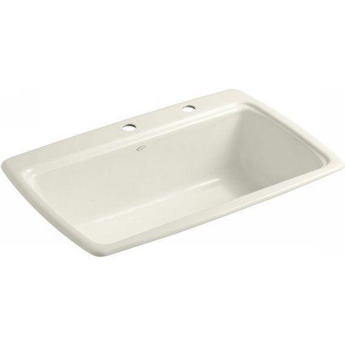 Kohler K-5863-2-96 Kitchen Sink 2 Faucet Holes Biscuit #Kohler