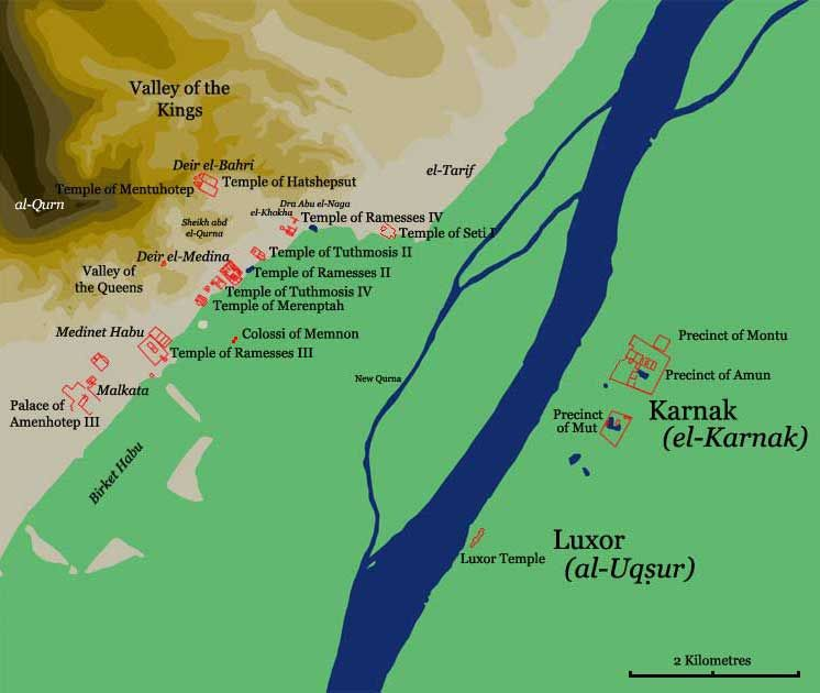 Map Of Some Of The Major Temples In Upper Egypt Kemit Temples - Map of egypt karnak