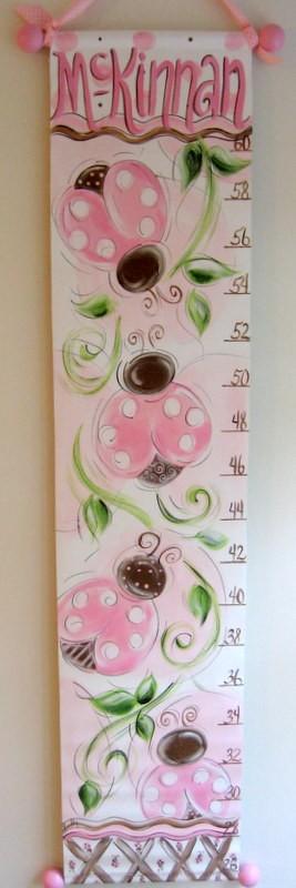 Pink and Chocolate Lady Bugs Growth Chart by SassyfrasDesignz, $59.99