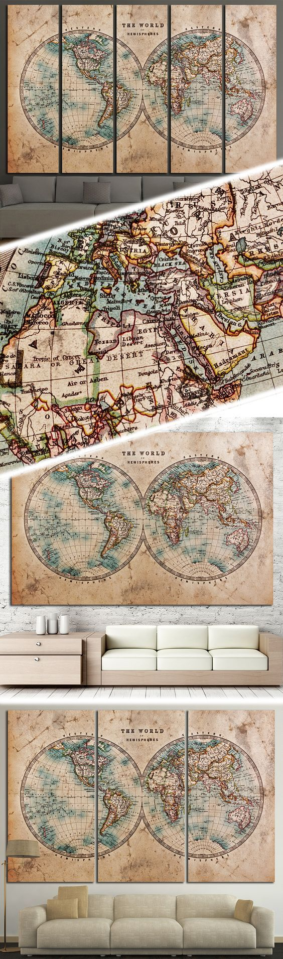 Old world map 862 map canvas office walls and wall decorations creative world map canvas prints wall art for large home or office wall decoration sale gumiabroncs Gallery