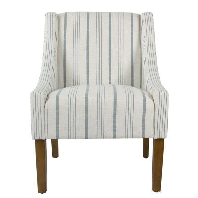 Best Homepop Striped Blue Calypso Poly Linen Modern Swoop 400 x 300