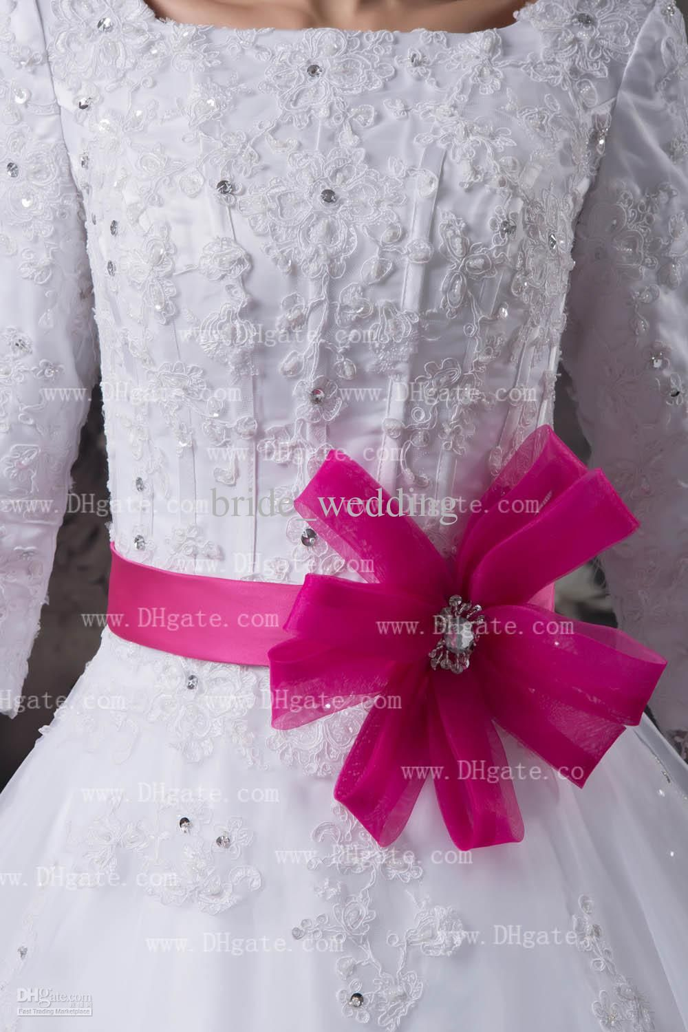 Hot pink brides maid dresses for girls white hot pink ball gown