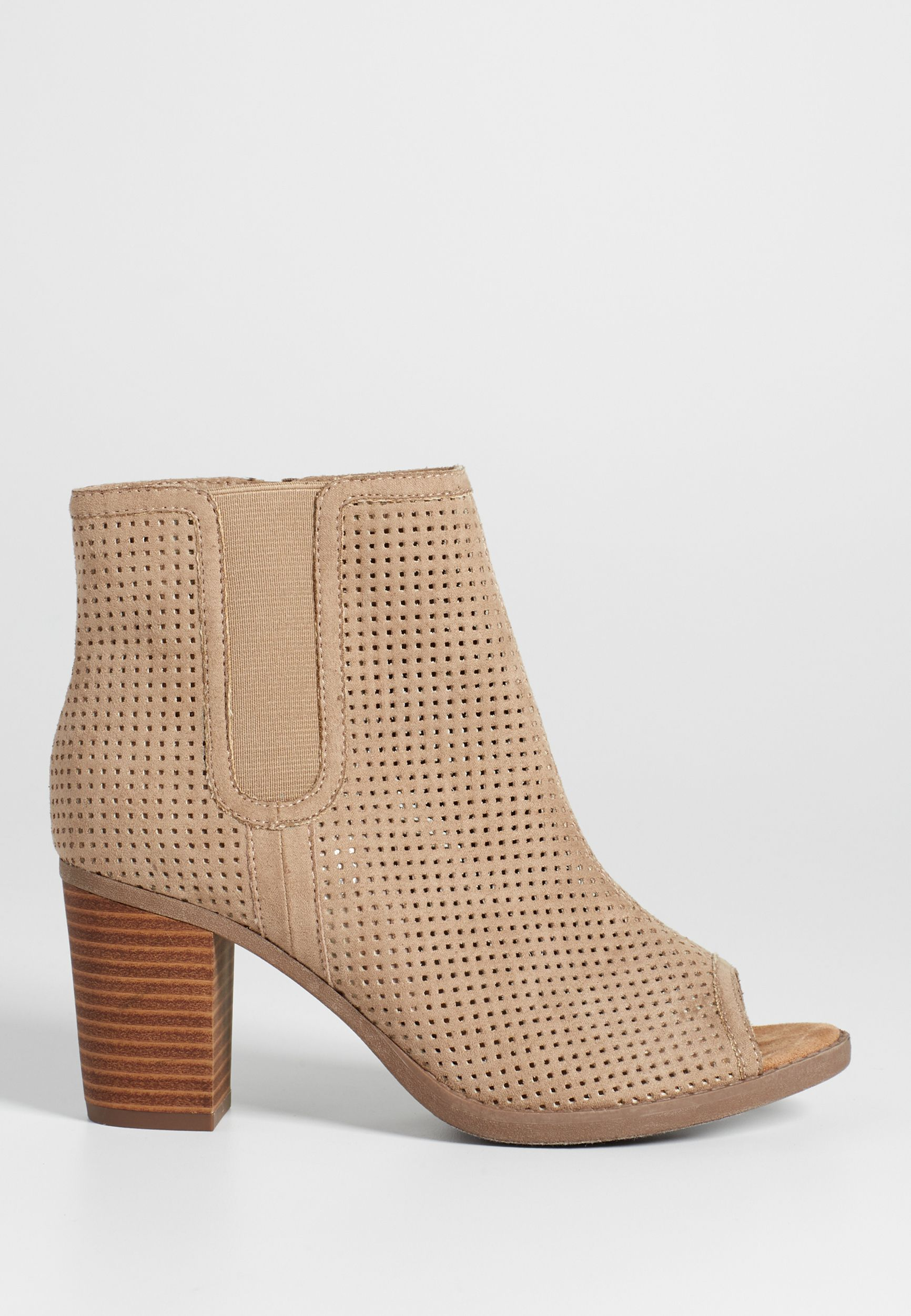Perforated Faux Suede Booties PDiKKaZVi