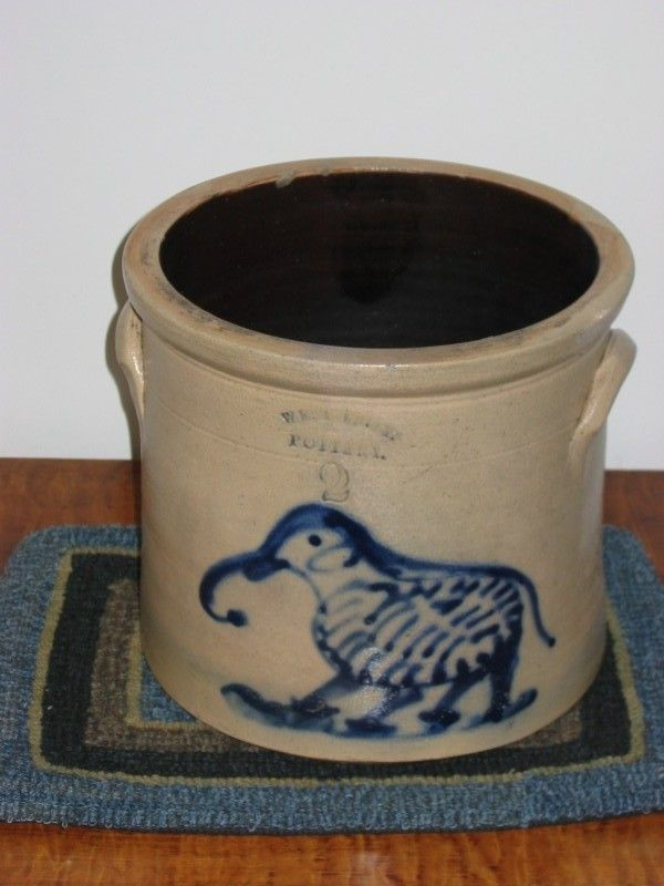 2 gal. West Troy Pottery, NY Crock with a whimsical Elephant design.