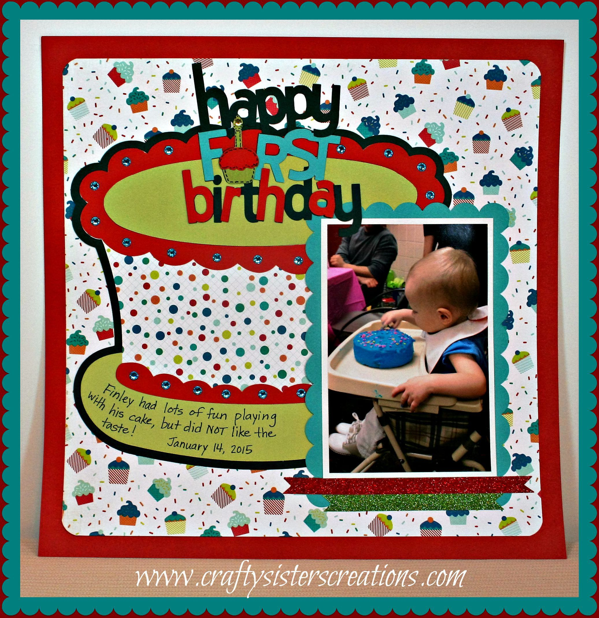 Bitten By The Bug 2 design team project for Birthday Cake Challenge.  Used Echo Park paper, Cricut Stretch Your Imagination and Baby Steps. www.craftysisterscreations.com