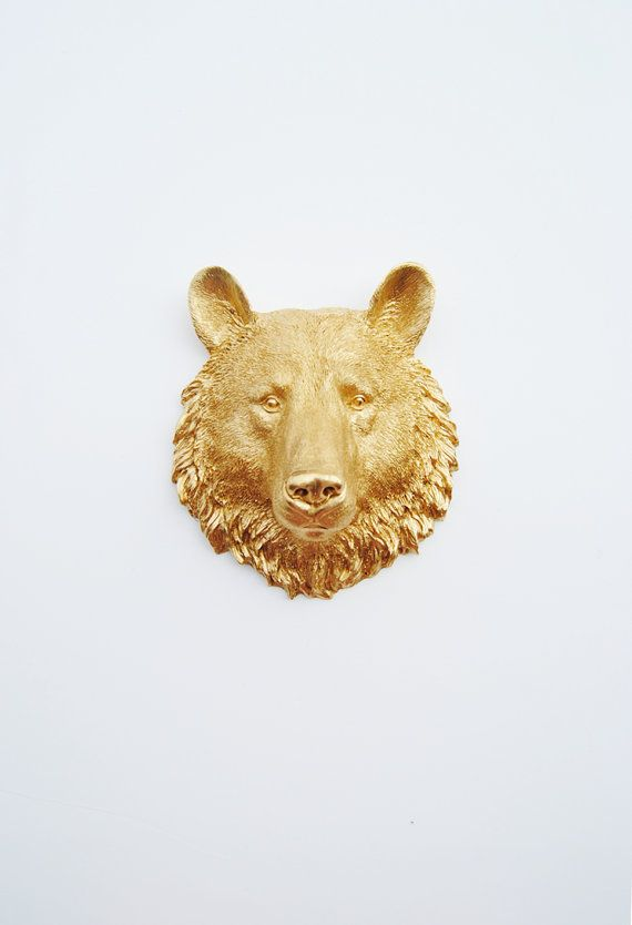 Bear Head Wall Mount - The Hudson Mini Gold Faux Bear Head Bust Wall ...