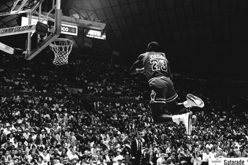 Michael Jordan Of The Chicago Bulls Attempts A Dunk During 1987 Slam Contest On February At Seattle Center Coliseum In Washington