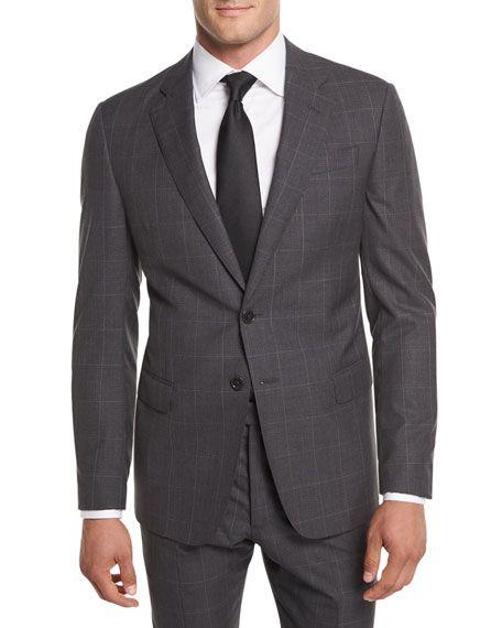 9bd94f5ac1e Giorgio Armani Textured Windowpane Wool Two-Piece Suit