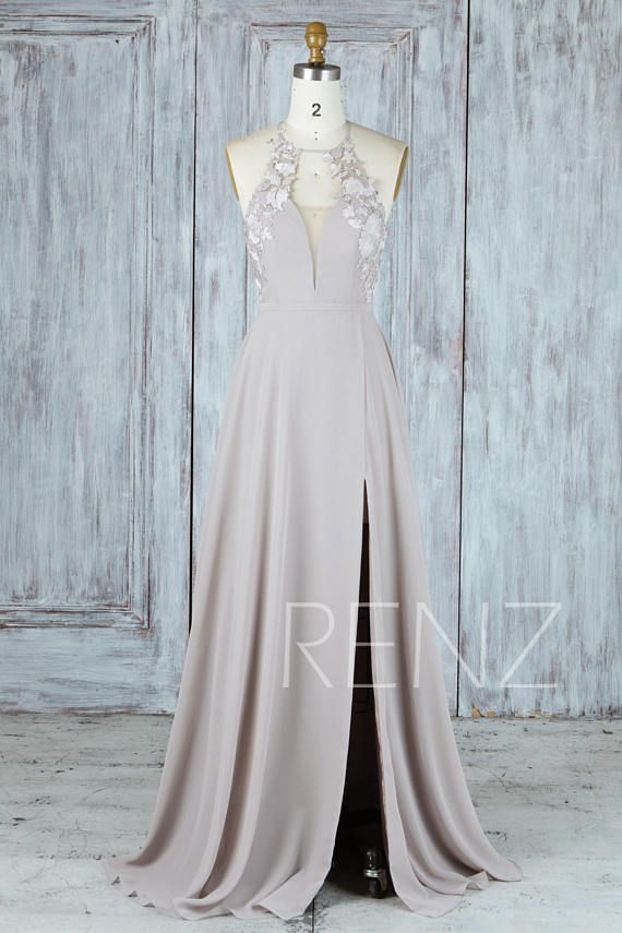 Bridesmaid Dress Taupe Chiffon Dress Wedding Dress Side Split,Lace ...