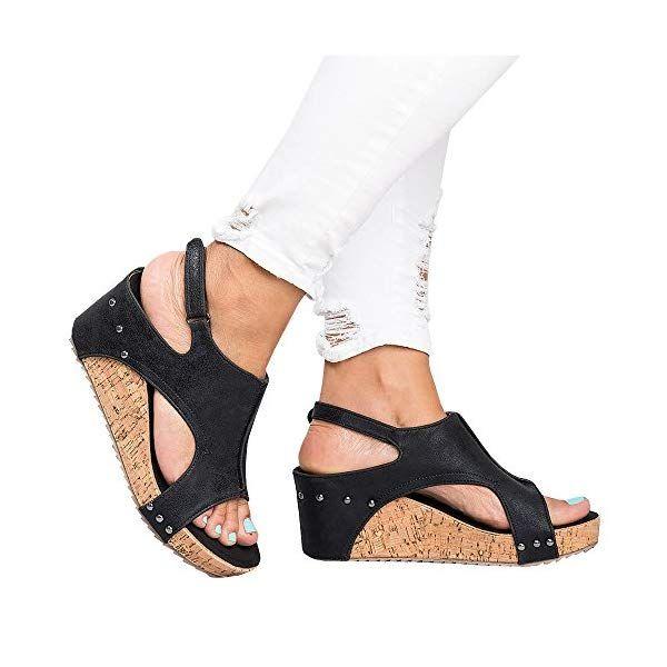 e36d2524ecdbc Syktkmx-Womens-Cutout-Open-Toe-Platform-Wedges-Slingback-Ankle-Strap ...