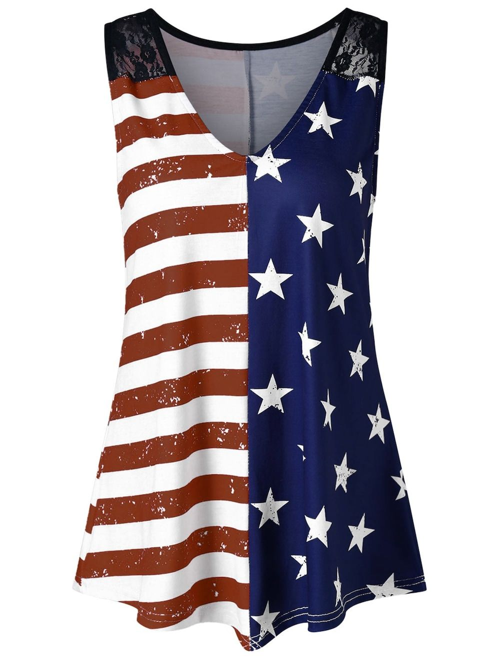 c4158ec2ea1b7 American Flag Print Lace Insert Swing Tank Top - multicolor A 2XL