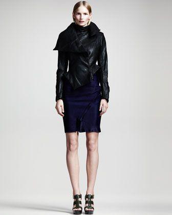 Asymmetric Leather Peplum Jacket, Sheer Draped Georgette Degrade Top & Asymmetric High-Waist Skirt by Ann Demeulemeester at Bergdorf Goodman.