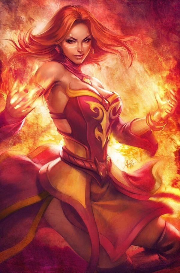 Mage Video Games Fire Phoenix Deviantart Lina Inverse Dota Artwork Artgerm 2 1185x1800 Wallpaper