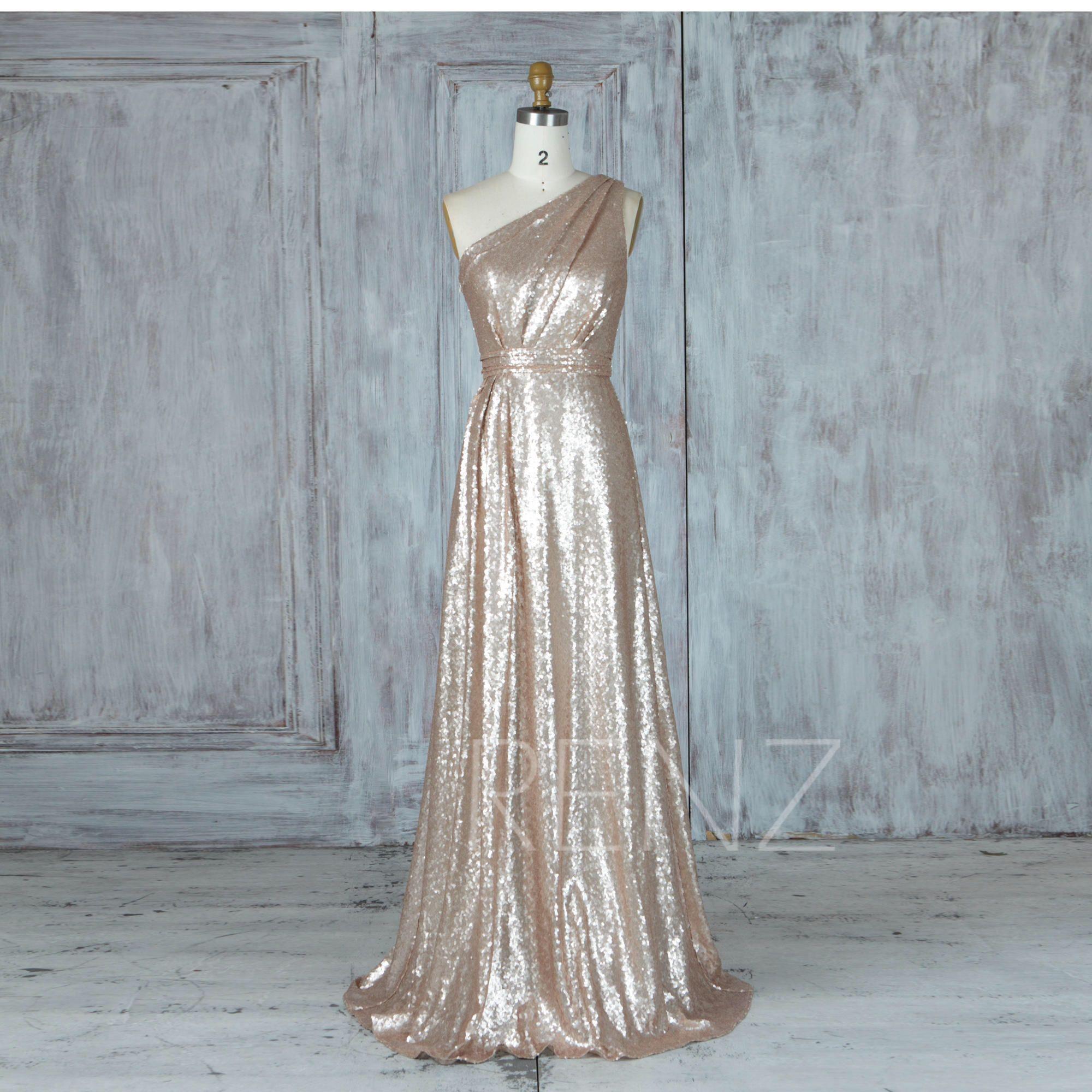 Bridesmaid Dress Tan Sequin Wedding Dress,Ruched One Shoulder ...