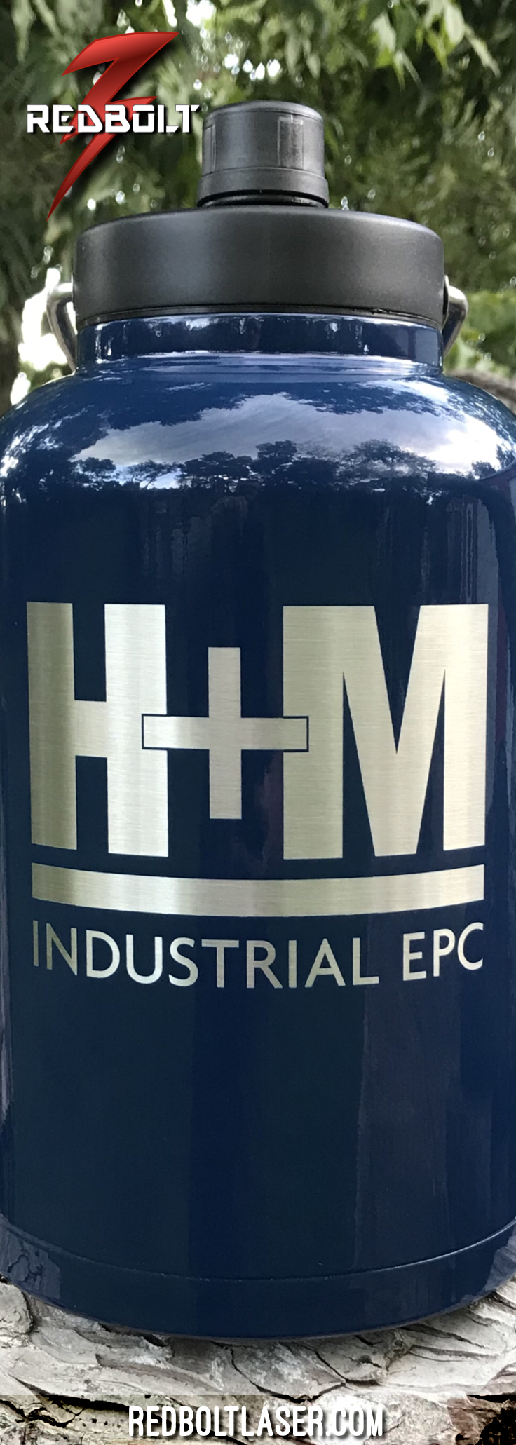 Personalized Custom Laser Engraved Etched Rtic Powder Coated Navy Blue Coated 1 Gallon Jugs Redbolt Redboltlaser Custom Cups Custom Tumblers Laser Marking