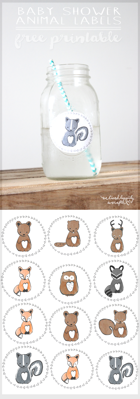 free forest animal mason jar baby shower label printables we