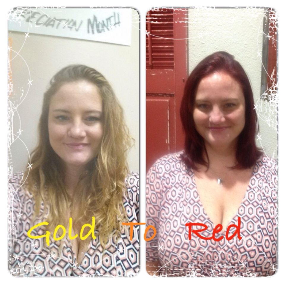 Before and after. Cut and color. Hair by Krista Gasca. Arte salon.