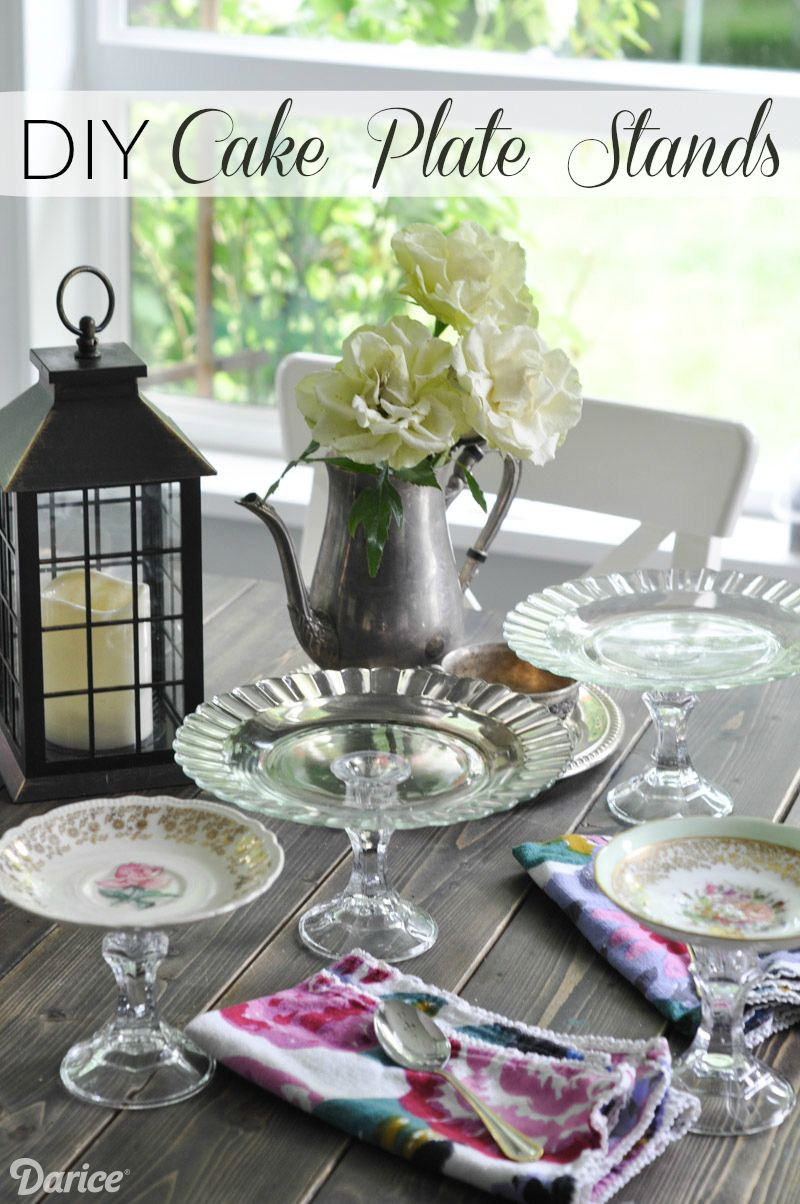 Transform vintage finds into treasured tableware! Make your own DIY plate stand from a thrift & DIY Plate Stand Made from Vintage Tableware - Darice | Plate stands ...