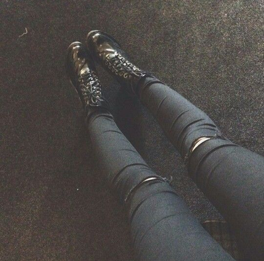 Black docs and black ripped jeans