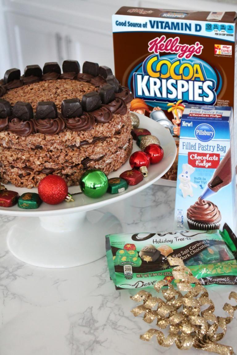 Chocolate salted caramel rice krispies layered cake