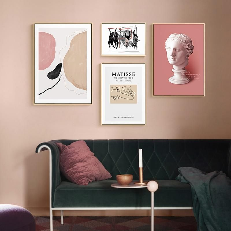 Pink Art Deco Prints Mix Match In 2020 Pink Art Deco Wall