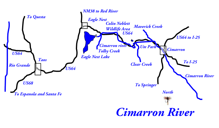 Map of the Cimarron River, N.M.   New Mexico  Heaven on Earth