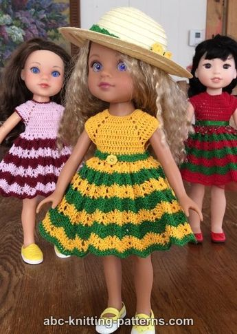 Free Doll Dress Crochet Pattern Doll Clothes Dolls Pinterest
