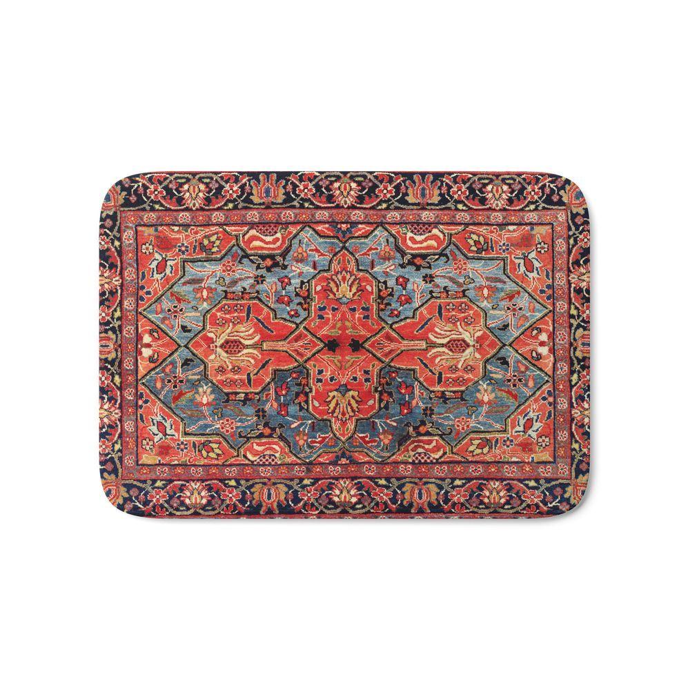 Kashan Poshti Central Persian Rug Print Bath Mat By Vickybragomitchell Bath Central Kash Persian Rug Rugs Bath Rugs [ 1000 x 1000 Pixel ]