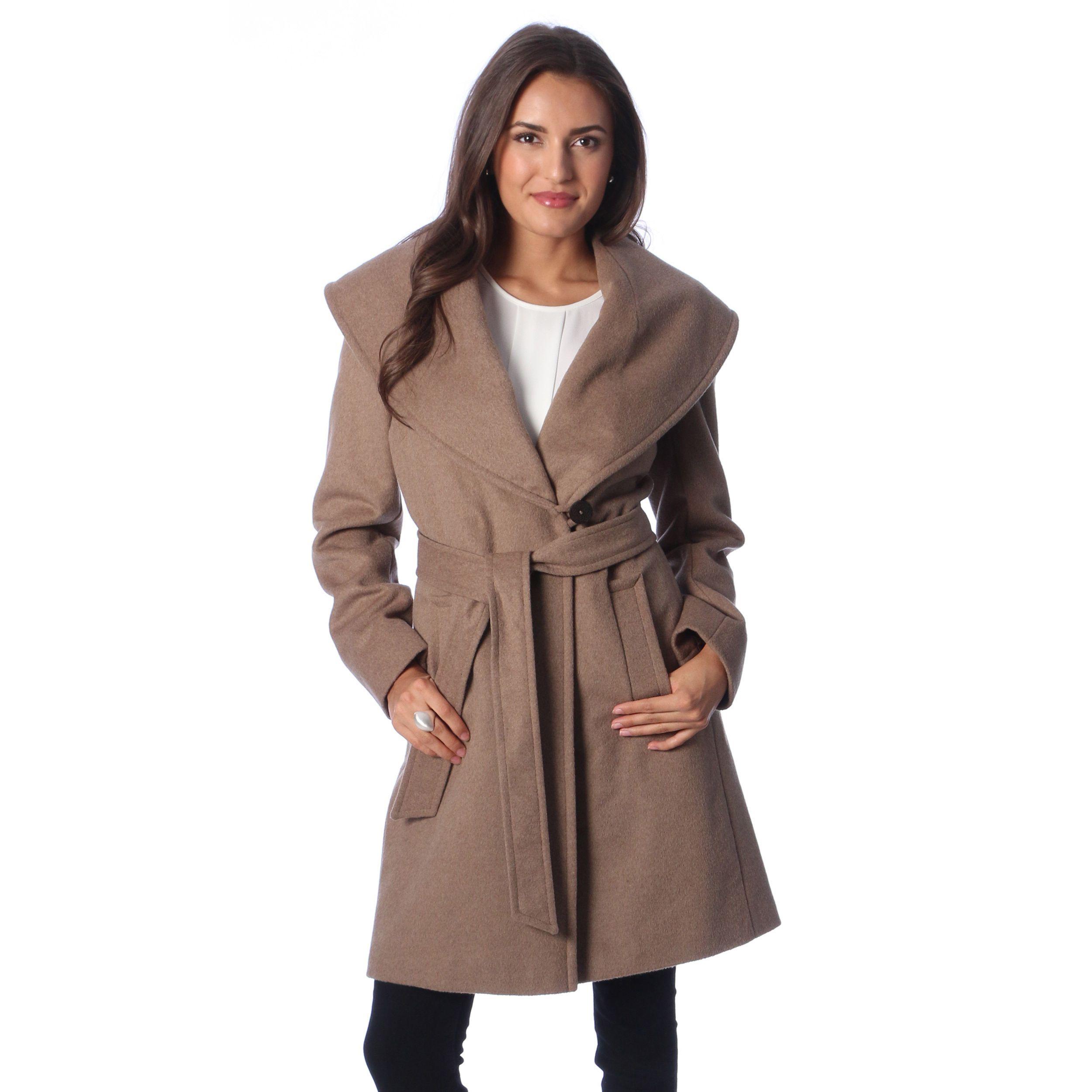 Larry Levine Women's Petite Oatmeal Belted Wrap Coat | Overstock ...