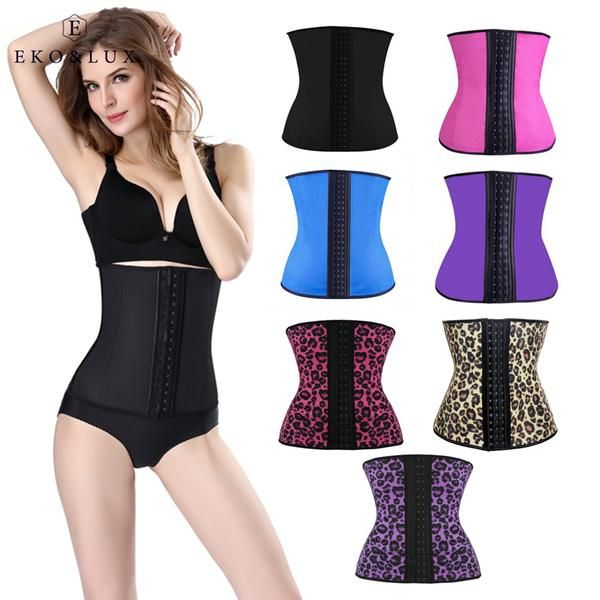 8973e99e74638 EKO LUX Latex Waist Trainer Corsets Hot Shapers Tummy Control Belts Latex Waist  Cincher Women Girdles Fajas